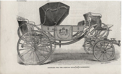 Antique 1846 Engraving Print Carriage Barouche For The Princess Of Wurtemburg S2