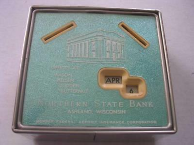 Northern State Bank Ashland WI Calendar Bank w/Conscience Slot with NO Key