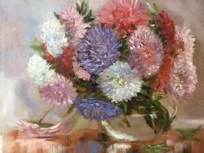 """Asters"" Original Oil Painting by Olga Schelp-Beautiful Still Life-Signed"