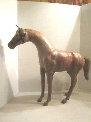 """Vintage Leather Horse Figurine Sculpture Statue Large Brown 22"""" by 18"""""""