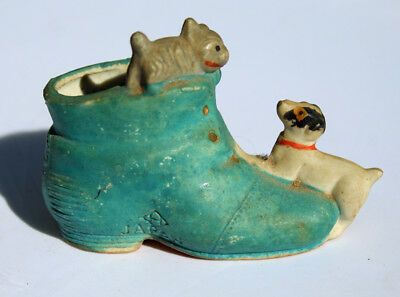 Vintage Ceramic Shoe with Dogs Japan Boot Painted Terrier