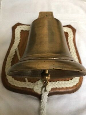Antique Large Original Nautical Maritime Solid Brass Ships Bell W/ Wall Display