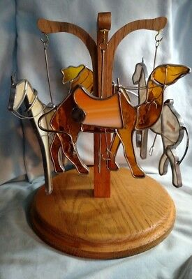 NE Rustics DA Glassco Stained Glass Carousel Animals with Wooden Carousel
