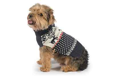 Ancol Christmas Xmas Navy Reindeer Dog Puppy Sweater Warm Jumper Festive Gift
