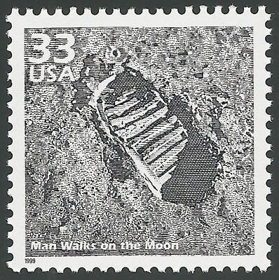 Apollo 11 Eagle First Man Walks on the Moon Walk Neil Armstrong Footprint Stamp!