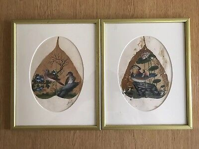 19th century Chinese pair of paintings on leaves