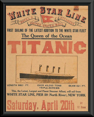 Titanic Advertisement Flyer White Star Line Reprint On Original 1912 Paper *052