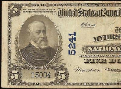 1902 $5 DOLLAR MYERSTOWN NATIONAL BANK NOTE LARGE CURRENCY PAPER MONEY Fr 607