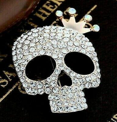 SKULL King Crown Rhinestone Halloween Costume Retro Style Goth Lolita  Brooch