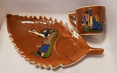 Vintage Mexican Hand Painted Pottery Coffee/Tea cup and Saucer/Tray