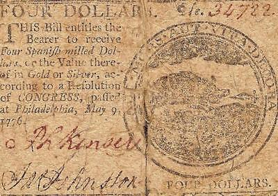 1776 Wild Boar 4$ Four Dollar Bill Continental Currency Colonial Era Note Cc-34