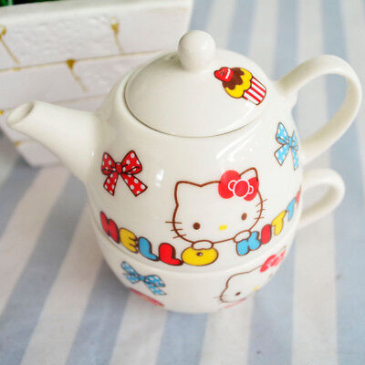 Hello Kitty Ceramic 1 Teapot + 1 Cup Two-in-one Tea Set 2 PCS Coffee Milk Cup