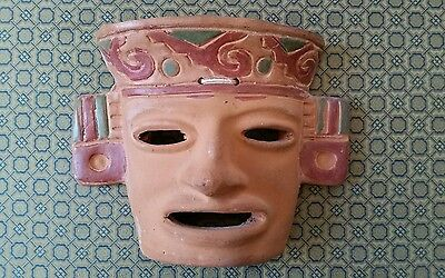 Aztec Mask Wall Hanging  Rustic Terra Cotta Clay Pottery Mask  from Mexico