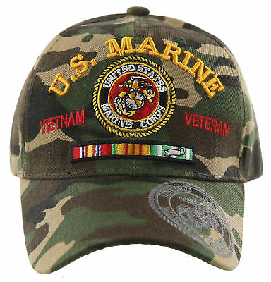 227505041 NEW! US MARINE Corps Vietnam Veteran Usmc Side Round Ball Cap Hat Green Camo