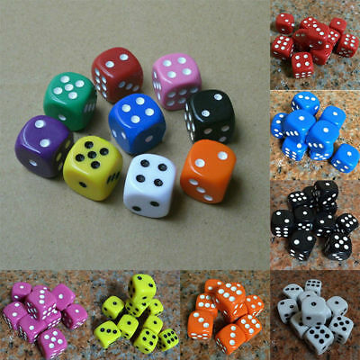 10PCS/Set 16mm Dice Opaque Standard D6 Six Sided Acrylic For RPG D&D Gaming HOT