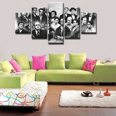 Vintage Top Fashion Male Movie Icons 5 Panel Canvas Print Wall Art Home Decor