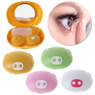 Contact Lens Box Cute Pig Shaped Container Mirror Portable Travel Eye Care Case