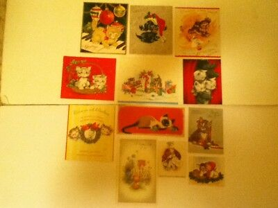 Vintage Lot Of 12 Animal Christmas Cards   Pre Owned Used