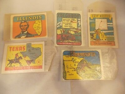 Lot of 5 1950s Souvenir Window Stickers, IL, CO, TX, NM, MN, Unused, Pre-Owned