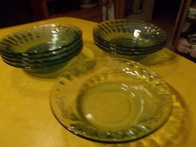 """Coca Cola Set Eight 7 1/2""""W Cereal/Soup Bowls in Green, all Marked"""