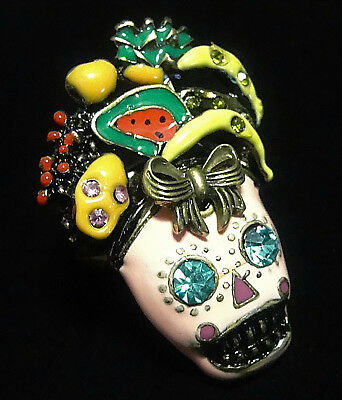SKULL Fruit RING Rhinestone Rio Sugar Lolita Betsey Johnson Retro Style PINK