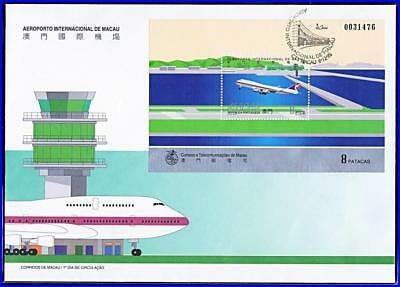 MACAO (PORTUGAL) 1995 AIRPORT S/s on FDC CV$15.00 BOEING 747 PLANE, AVIATION