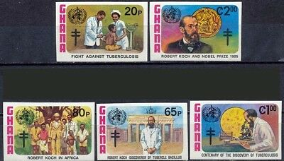 GHANA 1982 R.KOCH / MEDICINE / NURSES/MICROSCOPE/NOBEL IMPERF MNH (Do5)