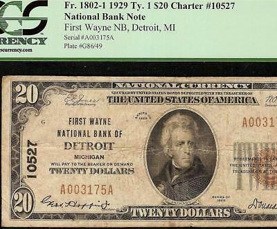 1929 $20 Dollar First Wayne National Bank Detroit Note Currency Paper Money Pcgs