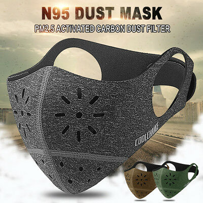 Half Face Respirator Mask Dust PM2.5 Proof Filtered Activated Carbon Filtration