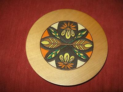 Vintage 1979  Folk Art Wooden Hand Carved & Painted Romanian Dish Romania Plate