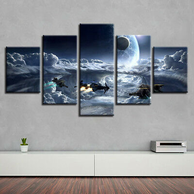 Star Wars Battle Collage Movie Poster 5 Panel Canvas Print Wall Art Home Decor