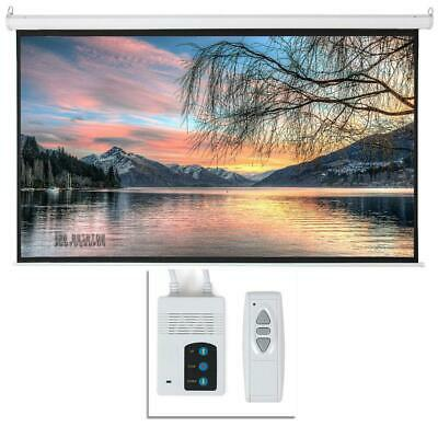 "Leadzm 92"" 16:9 HD Foldable Electric Motorized Projector Screen + Remote White"