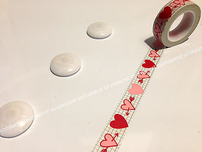 Japanese Washi Tape 15mmx10m Pink Red Love Heart #W2296