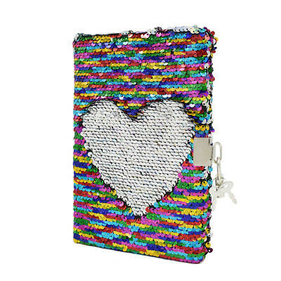 Kid Mermaid Sequin Diary Journal Lined A5 Notebook with Lock School Gift Rainbow