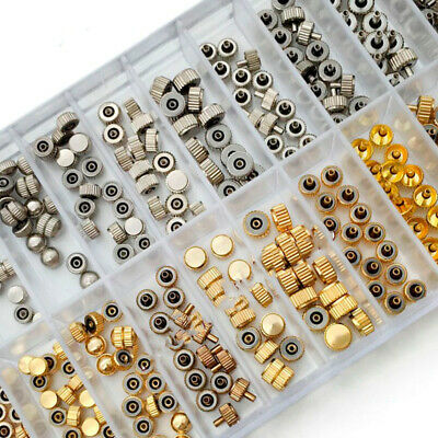 140PCS Watch Crowns Mixed Gold Silver Spares Repairs Watchmaker Parts Assortment