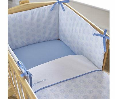 Brand new in pack Clair de lune speckles 2 piece crib bedding set in blue