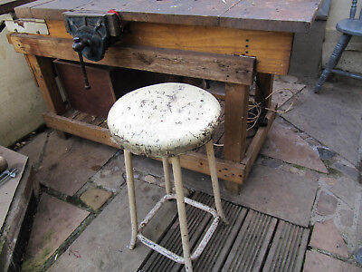 Vintage Industrial Stool, Heavy Steel with Leather Seat