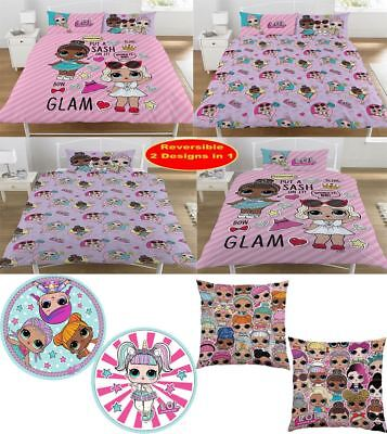 Girls LOL Surprise Glam Duvet Pillow Case Kids Reversible Bedding And Cushion