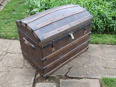Antique Victorian Double Dome Sea/travel Trunk Great Storage