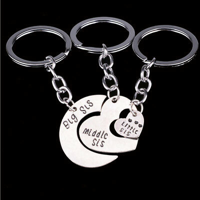 Jewelry Fashion Big Middle Little Sister Heart Pendant Keyring Key Chain