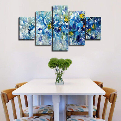 Blue Yellow And White Flowers Abstract Painting 5 Panel Canvas Print Wall Art