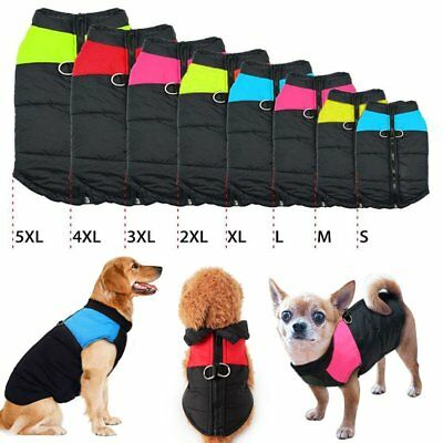 Dog Jacket Coat Winter Waterproof Padded Harness Small Medium Large Big Pet UK
