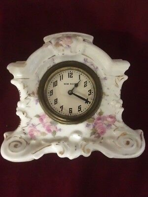 "Beautiful Antique New Haven Hand Painted Porcelain 5"" Windup Clock"