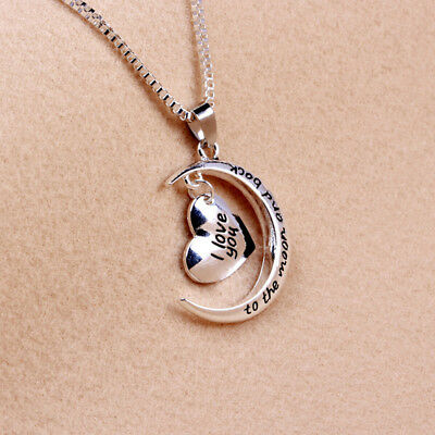 I Love You To The Moon & Back Family Heart Necklace Pendant For Women Men 6A