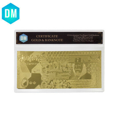 Saudi Arabia 24k Pure Gold Foil Banknote Real Golden Money with PVC Sleeve