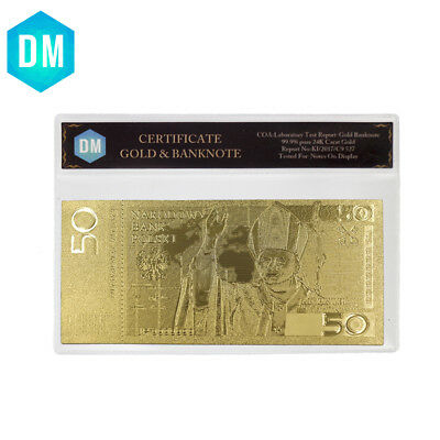 Poland 50 24k Pure Gold Plated Bank Note Festival Gifts Paper Money with COA