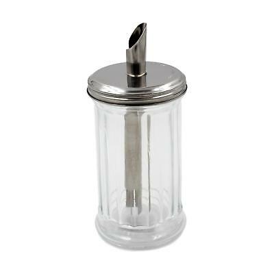 Classic Cafe Glass Sugar Dispenser Pourer Stainless Steel Top Clear Granula