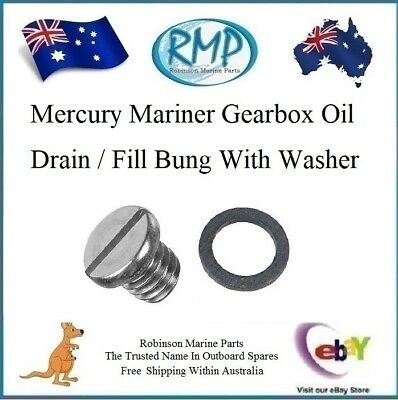 A Brand New Mercury Mariner Gearbox Oil Drain / Fill Bung With Washer # 307551