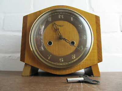 Vintage Mid Centuary Smiths Enfield Mantle Clock, Chiming, Key, Retro, Teak Wood