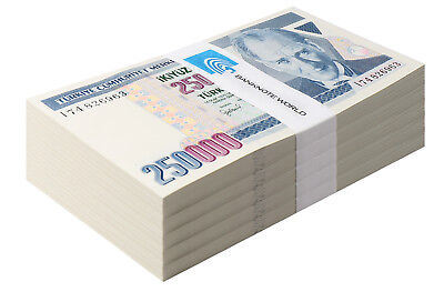Turkey 250,000-250000 Lira X 500 Pieces - PCS,1998,P-211,UNC,Prefix-I,Half Brick